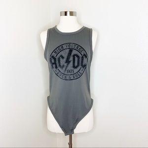 Tops - AC/DC Rock Gray Bodysuit Tank Top Size XL
